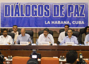 Peace talks press conference in Havana, Cuba