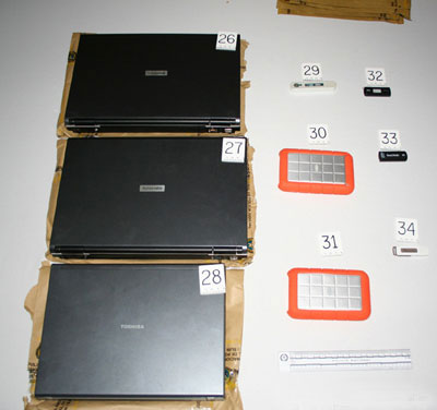 "Seized computers of FARC leader ""Raul Reyes"" (Photo: National Police)"