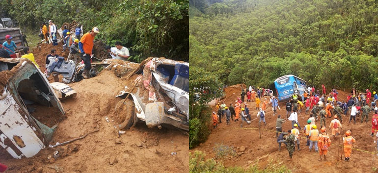 Massive landslide hits south Colombia highway; 6 confirmed dead, '26 missing'