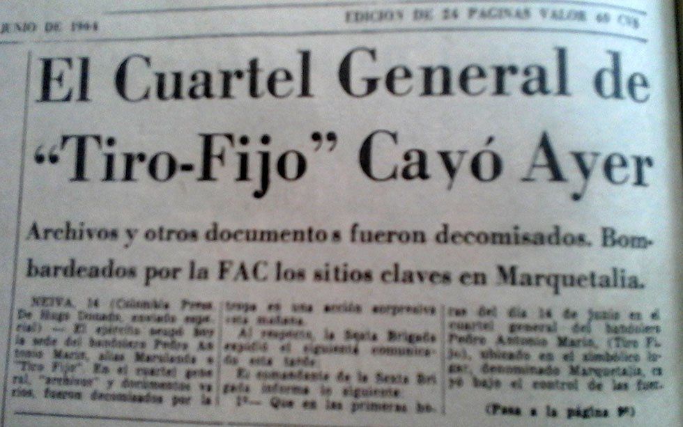 Newspaper article on the attack that spurred the formation of the FARC.